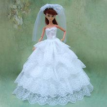 new arrial Full Around Lace quality light white wedding dress for barbie doll bride dress with veil