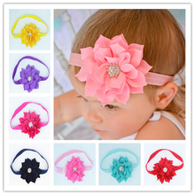 Fashion Beautiful Children Flower Hair Band Baby Head Hoop Lotus Leaf  Rhinestone Head Band