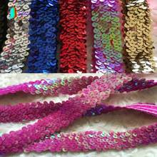 Rose red/Purple/Pink/Golden/Silver Elastic Sequins Lace,Dance Clothing/curtain Decoration Elastic Sequins Webbing S0559H