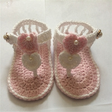 QYFLYXUE- Free shipping,Handmade Crocheted Baby Booties, Crochet Baby Pure Color shoes Girls Pearl Hasp shoes First Walkers