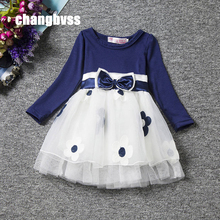 Red Blue Kids Dresses for Girls,Long Sleeve Princess Dress Girls Clothes,Flower Bow Decortion Baby Infant Girl Dress Cheep Price