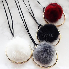 Hot sale Tassel Sweater Necklace Key Pendant Fur Ball Rabbit Fur Plush Fur POM Necklace for Women Fashion