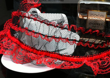 "10 yard 6.5cm 2.55"" wide black red stretch elastic ruffled mesh gauze tapes lace trim ribbon 5341s free ship(China)"
