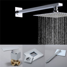 "bowarepro Wall Shower Set With 8""Rain Chuveiro Hotel LED Shower Head Bathroom faucet set single mixer Tap zwart douche set wall"