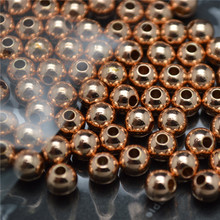 Rose Gold Color Metal Copper Round Ball Beads Spacers 4mm 5mm 6mm 8mm 10mm 12mm 14mm 16mm Jewelry Findings 100PC/Lot