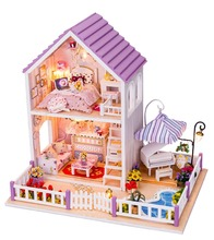 DIY Wooden Dolls house Miniatures Dollhouse 3D Handmade White Chocolate room English instruction&Furniture X'mas Gift