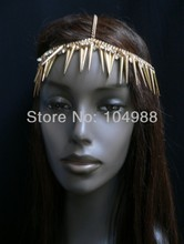 FREE SHIPPING 2014 Style H13 NEW WOMEN GOLD HEAD CHAIN LONG SPIKES FASHION JEWELRY SILVER RHINESTONES CIRCLET SILVER OR GOLD