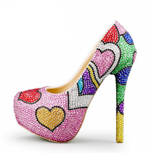 Fashion Handmade Colorful Rhinestone Wedding Shoes Banquet Evening Party Pumps Multicolor Crystal Bridal Shoes Heart Shape
