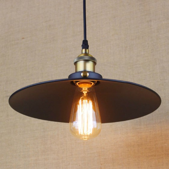 IWHD Edison Loft Style Industrial Lamp Vintage Pendant Light Fixtures Rustic Black Iron Painting Hanging Light 30cm<br>