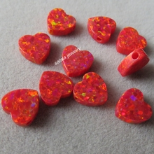 50pcs/lot 8mm Double Flat Heart Opal OP45 Flame Heart Opal Synthetic Cabochon Heart Opal for Opal Necklace & Pendant