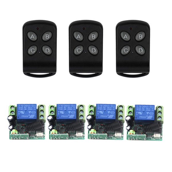 Home smart control system DC 12V 10A 1ch wireless remote control switch system 315/433mhz 3 Transmitter &amp;4 receiver SKU: 5556<br>