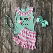 baby girls summer boutique clothes kid wear stay cool cotton mint pink striped sleeve shorts ice-cream print match accessories