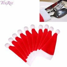 FENGRISE 20pcs/Lot Christmas Silverware Holder Mini Santa Claus Hat Merry Christmas Decorations for Home Table Decor Accessories(China)