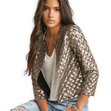 Blazer Women Vogue Lozenge Women Gold Sequins Jackets Three Quater Sleeve Coats Outwears Wholesize S-2XL(China)