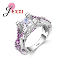 JEXXI Fashion Design Luxury Rings For Lady Princess Cut 925 Sterling Silver Wedding Engagement Rings For Women