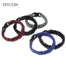 New Outdoor Camping Hiking Buckle Wristband Rope Paracord Bracelet For Men Women Bangles Jewelry 6pcs Wholesale(China)