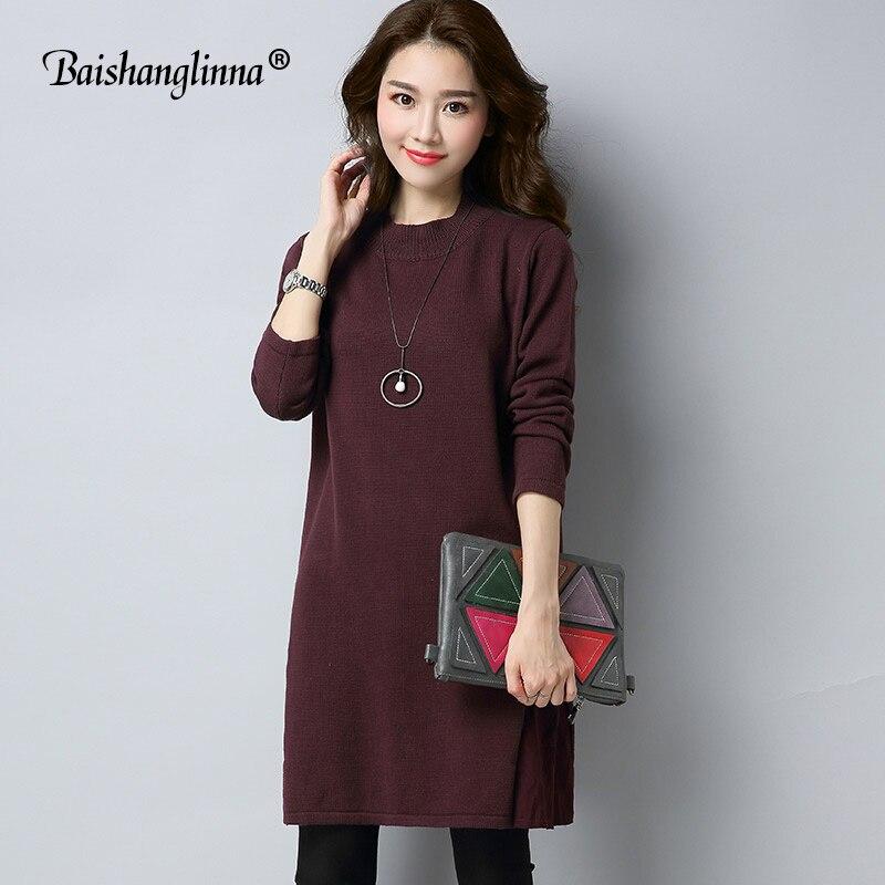 Baishanglingna Casual O-neck long knitted sweater dress women wool loose bodycon dress pullover female Autumn winter dress 2017Îäåæäà è àêñåññóàðû<br><br>