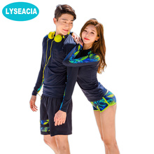 LYSEACIA Hot New Couple Clothes Rashguard Men Women Long Sleeve Swimsuit Lovers Rash Guards Couples Surfing Two-Piece Swimwear(China)