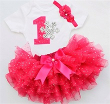 Fancy Toddler Baby Girl Clothes Baby Rompers Tutu Bling Skirt Headband 1st First Birthday Outfits Kids Infant Clothing Set Suits(China)