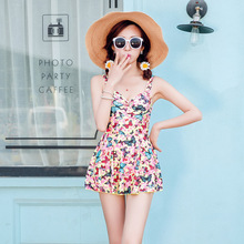 M-2XL Printed Swimwear 2017 Hot Women One Piece Wide Strap Swimsuit Scrunch Bathing Suit Plus Size Jumpsuit  Beach Wear