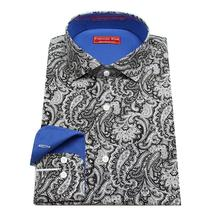 black cotton dress shirt with printed white paisley flower shirt , man's custom tailor made casual shirt , free shipping
