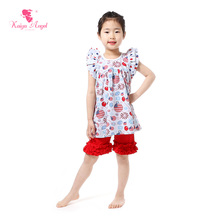 Kaiya Angel Children Clothing Wholesale Patriotic Day Kids Clothes Party Balloon Red Shorts Ruffles 4th Of July Outfits Set 2-7T