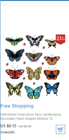 Wall sticker home decor New Landscaping Decoration Heart Shaped Stickers 12 Butterfly Stickers