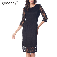 Kenancy 2 Colors Back Bow Tie Chic Rose Lace Dress Women Party & Office Knee-Length Half Lace Sleeve Vestidos Elegant(China)