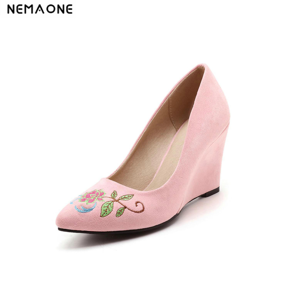2017 New summer women shoes wedges heels shoes woman embroider dress shoes red yellow gray pink<br>
