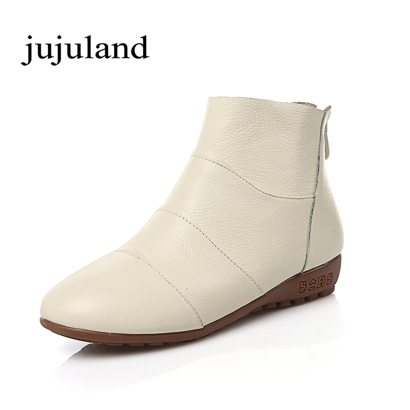 Winter Genuine Leather Women Shoes Boots Zip Round Toe Wedges Low Heels Solid Fashion Leisure Big Size Lazy Shioes Fleeces<br>