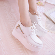 2017 New Women Creepers Platform Shoes lace up zipper pu leater shoes White Black Women Flats Hot Sale Shoes Woman a017