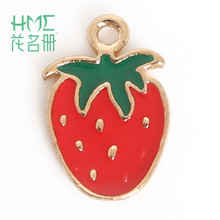 Hot Sale Strawberry Enamel Metal Alloy Fruit Charm Pendant,for DIY Earring Bracelet Necklace Jewelry Findings Craft Making