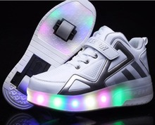 NEW 2017 Children Shoes With LED Lighted Breathable Fashion Boy & Girls Sneakers SPORT CASUAL(China)