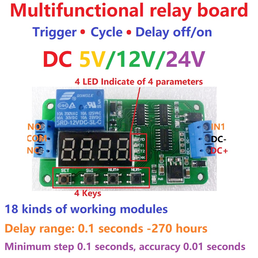 5-24V Vorwärts//Rückwärts Mo-tor-Steuerung Motorsteuerplatine Timing Delay Relais