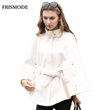 Women Winter Fashion Wool Cloak Jacket Plus Size Beige Long Sleeve Loose poncho 2017 new Brand Women's Warm Wool Cape Coats(China)