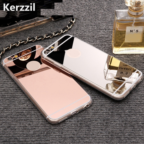 Kerzzil Rose gold Luxury Mirror Flash Fashion Case For iPhone 7 6 6S Plus 5s SE Soft Clear TPU Cover For iPhone 6 7 6S 5S(China)