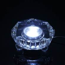 7 LED Unique Crystal Display Glass Arts Lamp Base Stand White Light Lamp Bases 8.5x4cm With Adapter AC 110-220V(China)