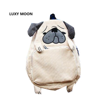 Japanese School Bag Animal Design Corduroy Pug Backpacks for Teenage Girls Cute Dog Preppy Style Laptop Squirrel Backpack L363(China)
