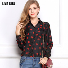 2017 Summer Plus Size Women Shirt Turn Down Collar Long Sleeve Red Lips Leopard Polka Dot Stars Print Chiffon Blouses for Women(China)