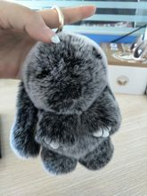Real Puff Bunny Bag Charm Snow Frost Gray Fluffy Purse Charm Pompoms Rabbit Bunny Pendants Keychains Handbag Charm Accessories
