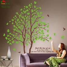 DIY large size green tree vinyl wall stickers home decor living room bedroom wallpaper murals family tree wall decal(China)