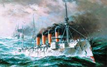 Art sea waves ships armored cruiser RUSSIA St. Andrew's flag sky sea gulls drawing 4 Sizes Home Decoration Canvas Poster Print(China)