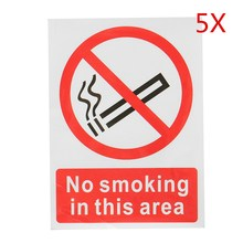 5 Pcs/Set No Smoking In This Area Warning Sign Vinyl Symbol Warning Sticker NSITA-A5-SAV Plastic