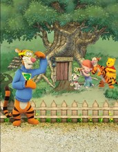 8x8FT 3D Pooh Bear Winnie Tiger Fence Trunk Tree House Grass Kids Children Custom Photo Backgrounds Studio Backdrops Vinyl 10x10