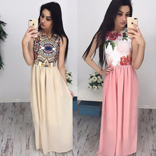 fashion women sexy maxi dresses o-neck sleeveless dress printed chiffon bohemian long - Shop2834050 Store store