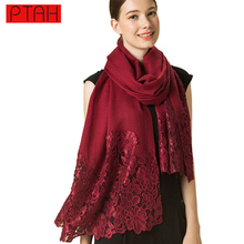 PTAH Winter Women Accessories 100% Wool Scarf Shawl Pashmina Lace Oversize luxury Brand Soft Hijab Scarves Tippet Muffler 4PT389