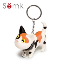 Semk Kat Cat Toy Keychains for Car Key chain Charms Anime Figurines Cat Viryl Doll PVC Head Can be Rotate Gift for Christmas(China)