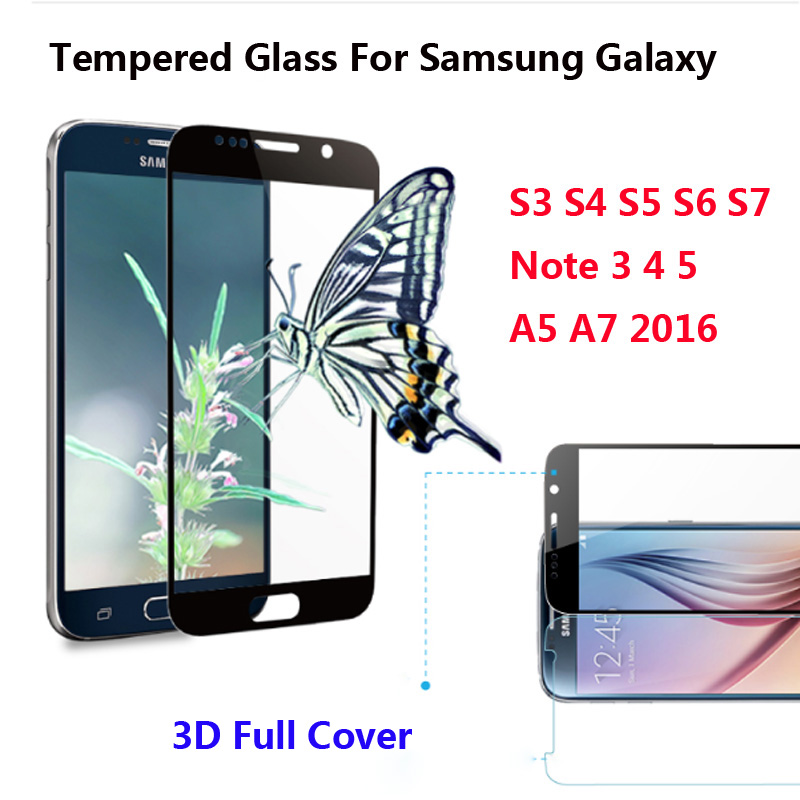 3D Full Cover Color Tempered Glass For font b Samsung b font S4 S5 S6 Note