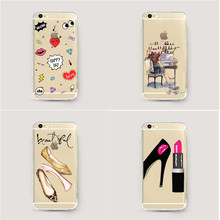 Gorgeous High Heel Shoes Silicon Phone Cases Cover For iphone 6 6s 5 5s se 7 7Plus Graffiti Sexy Lips Clear Cell Phone Case(China)