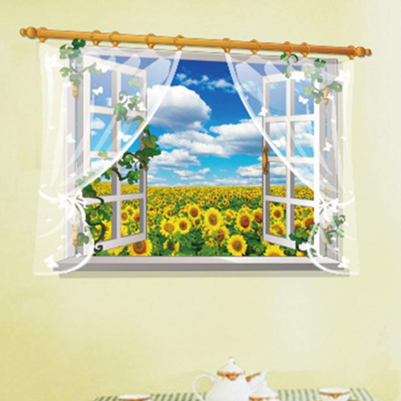HTB12NuUhr1YBuNjSszhxh7UsFXa2 - 3D Window View Nature Landscape Wall Sticker  For Living Room